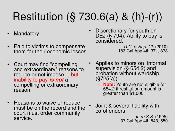 Restitution (§ 730.6(a) & (h)-(r))