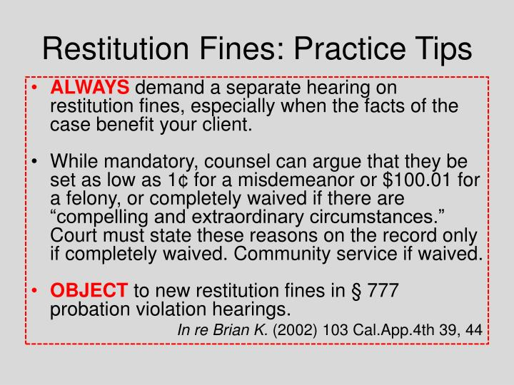 Restitution Fines: Practice Tips