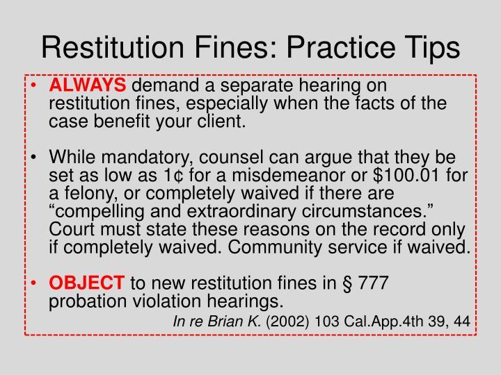 Restitution Fines: Practice Tips