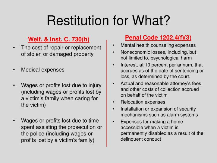 Restitution for What?