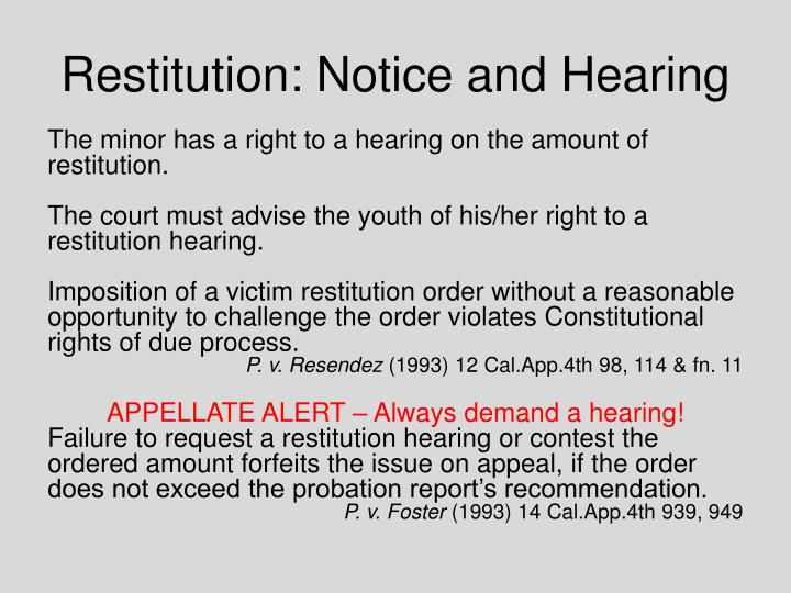 Restitution: Notice and Hearing