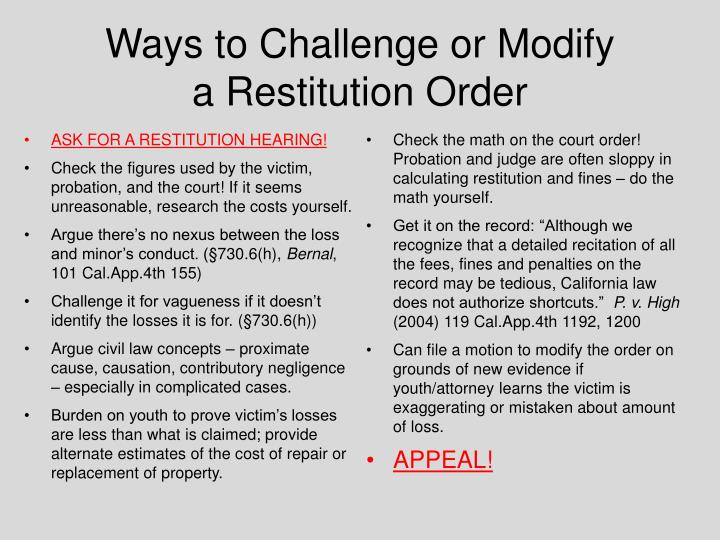 Ways to Challenge or Modify