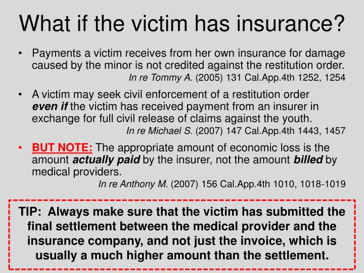 What if the victim has insurance?