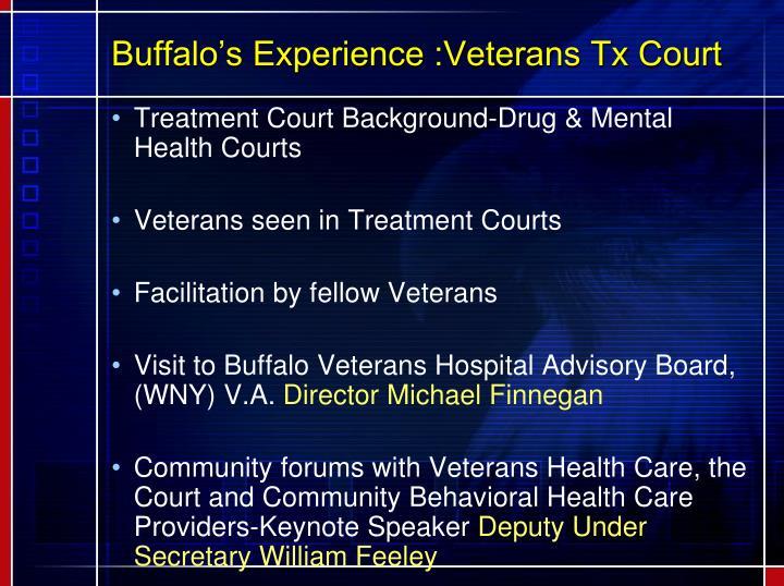 Buffalo's Experience :Veterans Tx Court