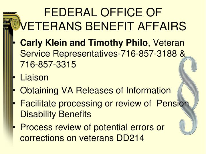 FEDERAL OFFICE OF VETERANS BENEFIT AFFAIRS