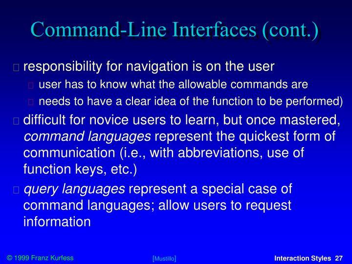 Command-Line Interfaces (cont.)