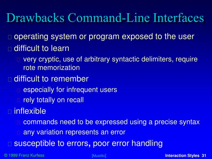 Drawbacks Command-Line Interfaces