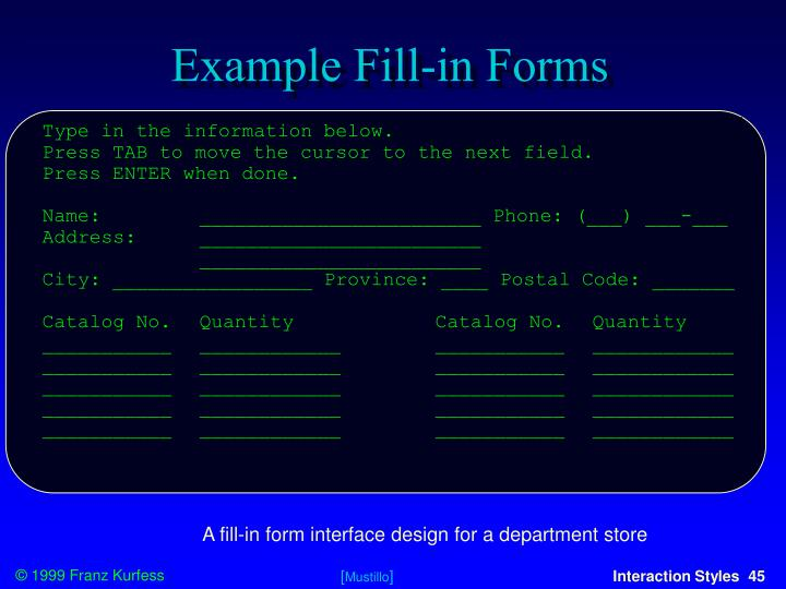 Example Fill-in Forms
