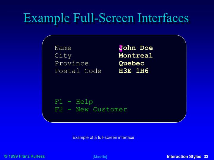 Example Full-Screen Interfaces