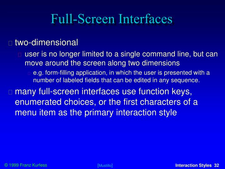 Full-Screen Interfaces