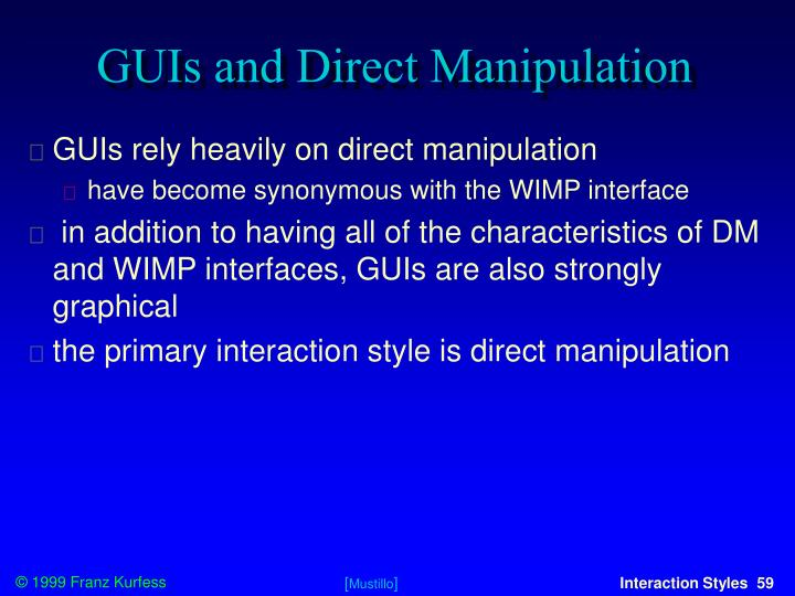 GUIs and Direct Manipulation