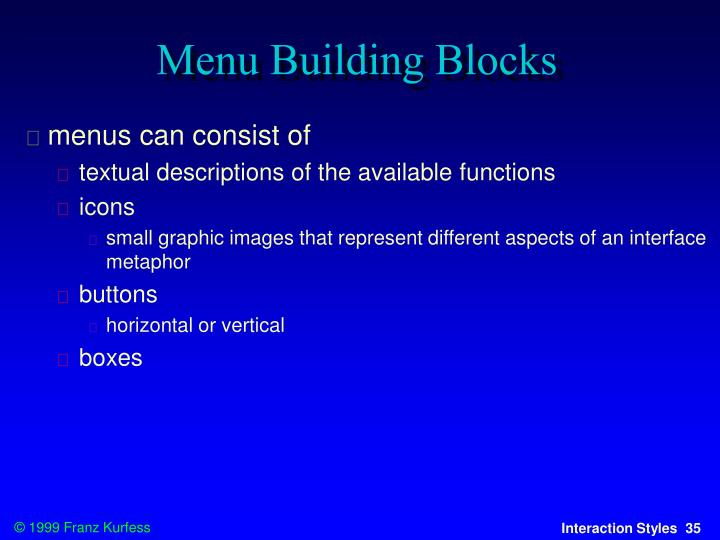 Menu Building Blocks