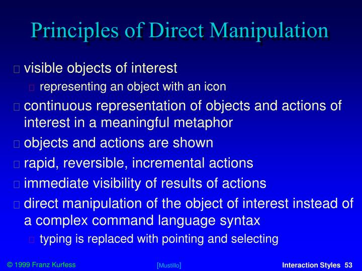 Principles of Direct Manipulation