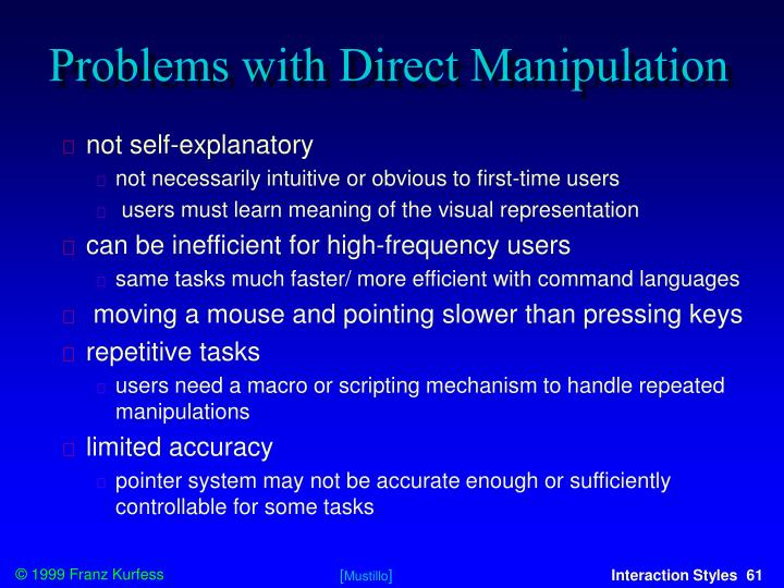 Problems with Direct Manipulation