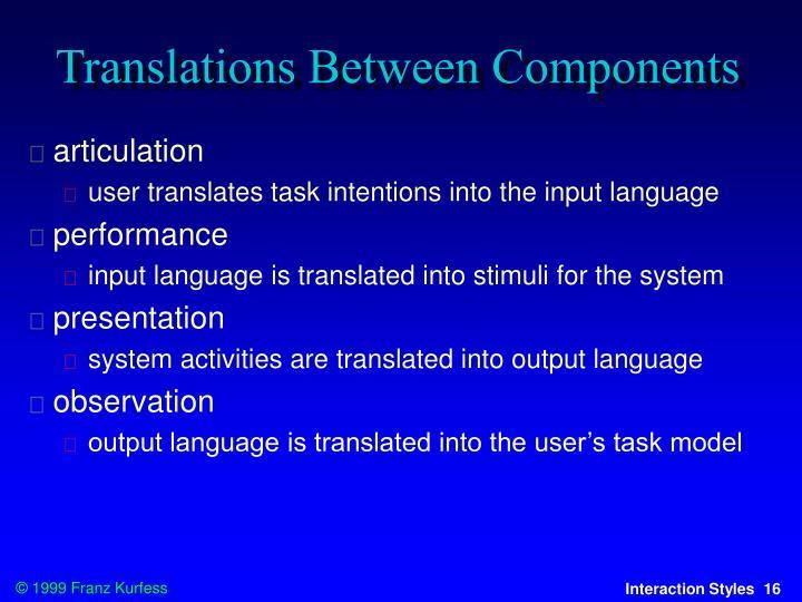 Translations Between Components