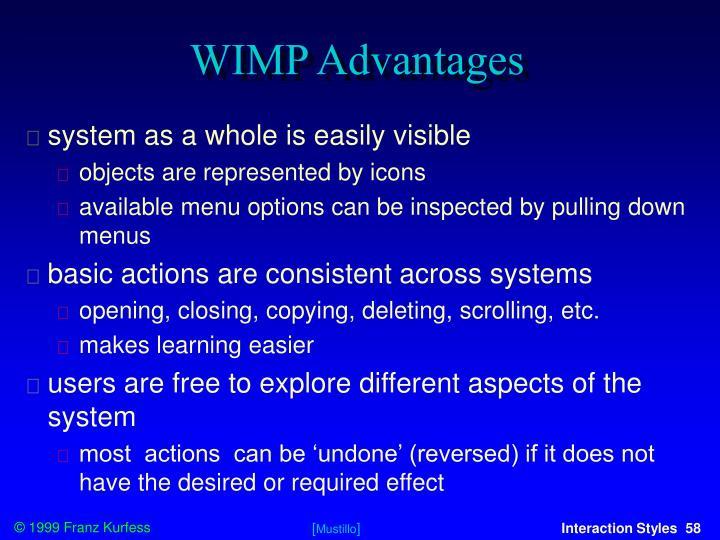 WIMP Advantages