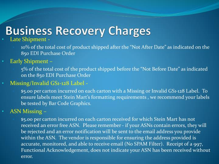 Business Recovery Charges