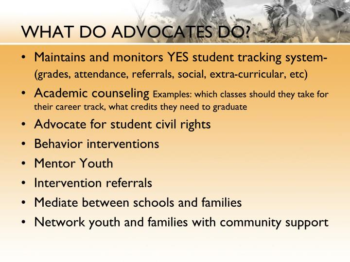 WHAT DO ADVOCATES DO?