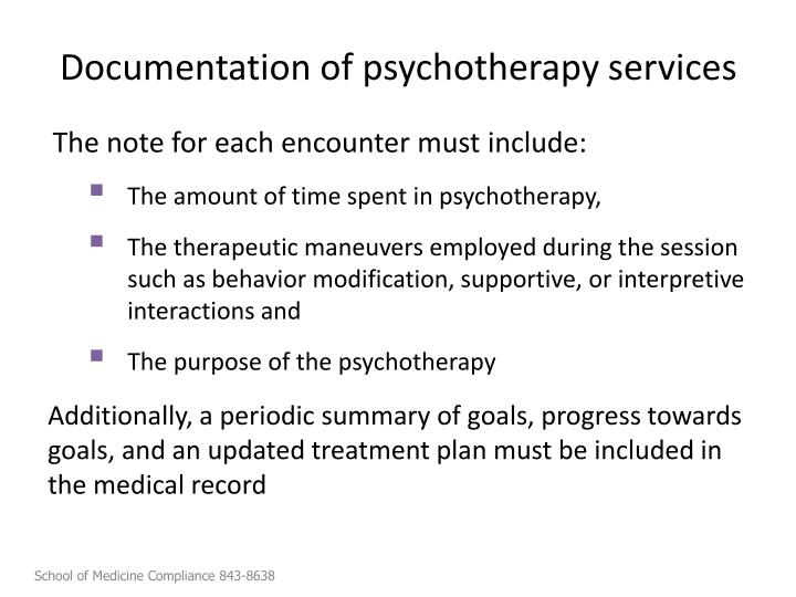 Documentation of psychotherapy services