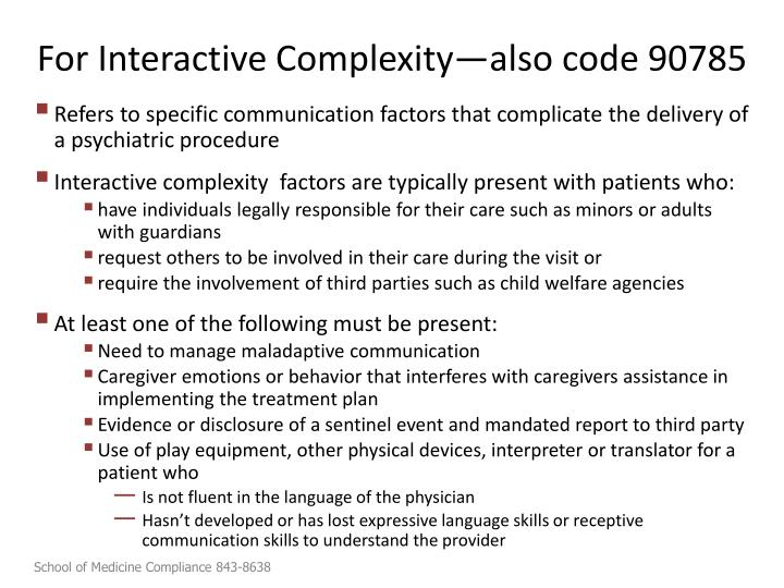 For Interactive Complexity—also code 90785