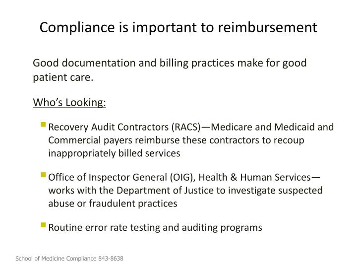 Compliance is important to reimbursement