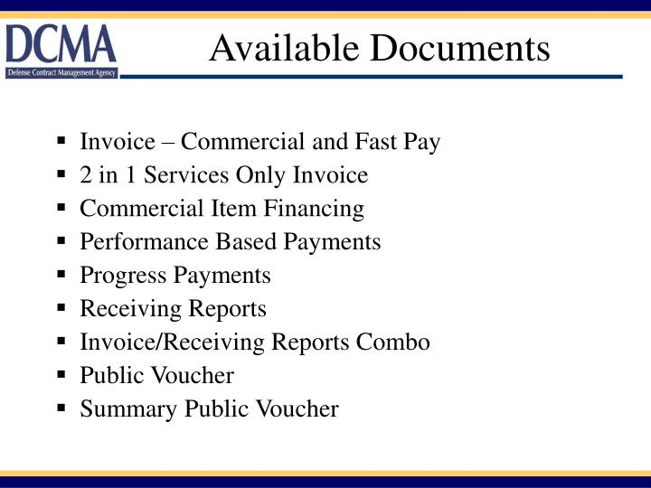 Available Documents