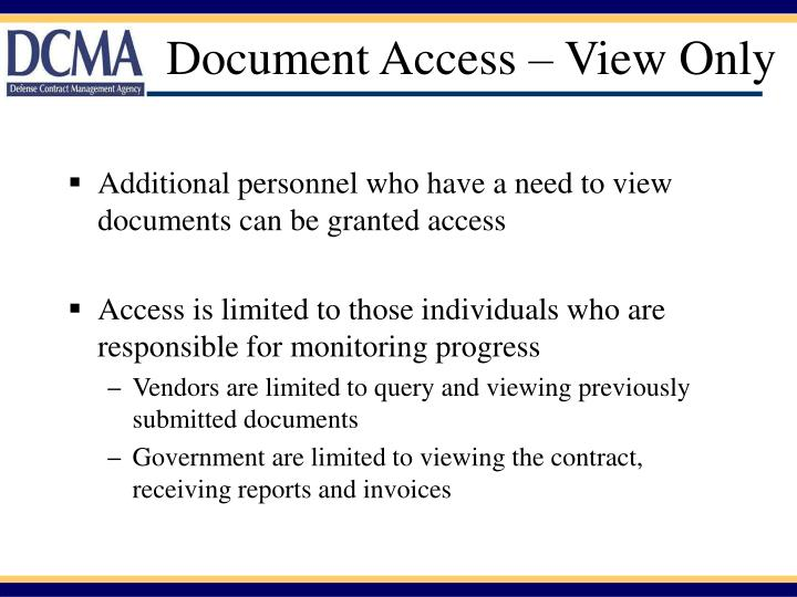 Document Access – View Only