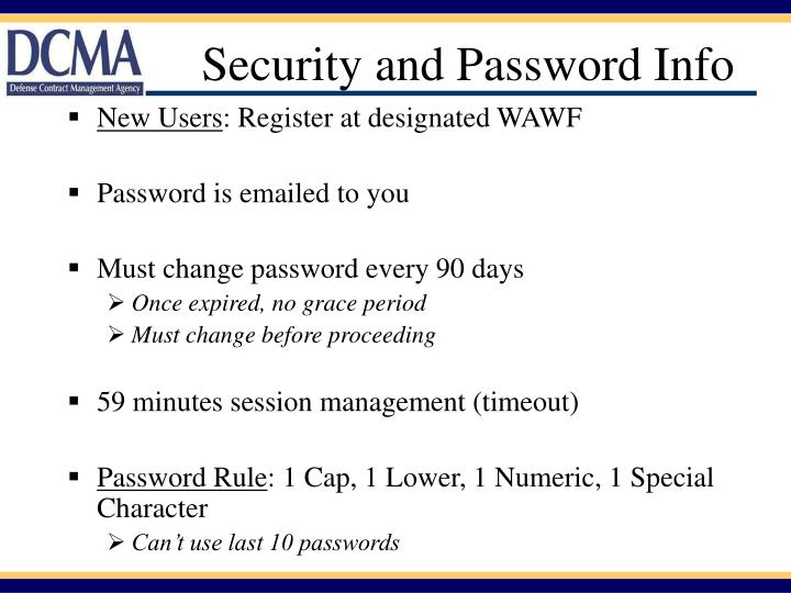 Security and Password Info
