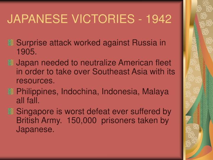 JAPANESE VICTORIES - 1942