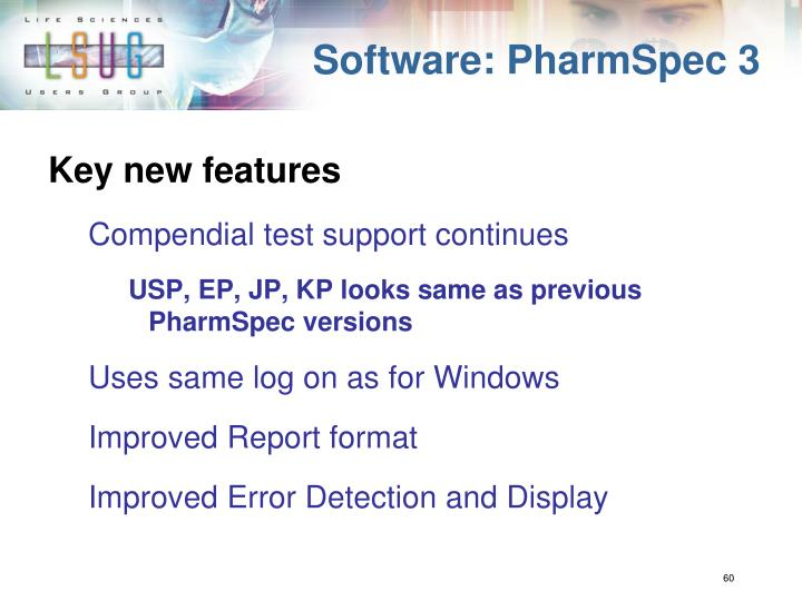 Software: PharmSpec 3