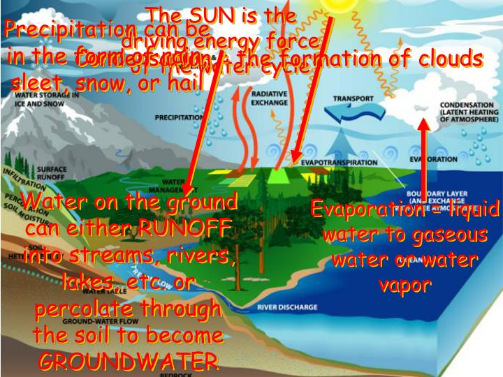 The SUN is the driving energy force of the water cycle