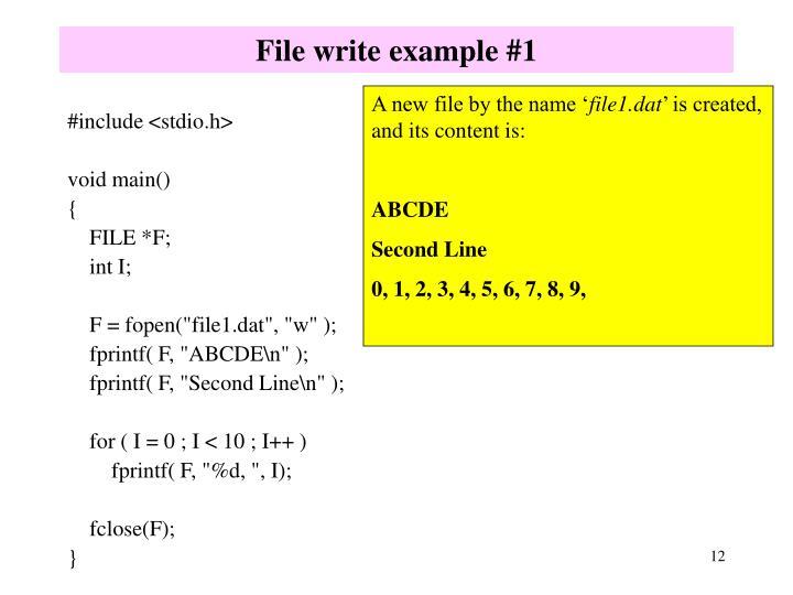 File write example #1
