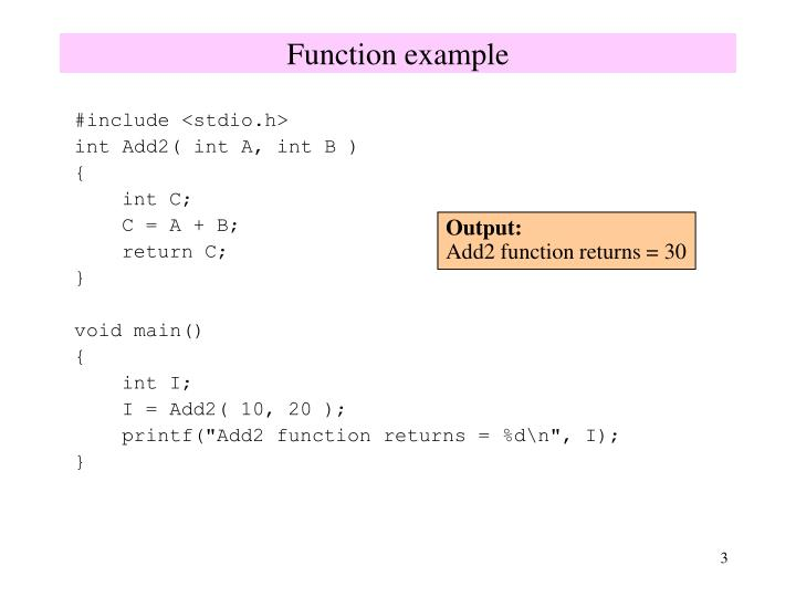 Function example