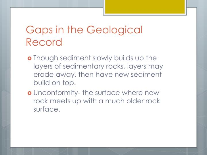 Gaps in the Geological Record