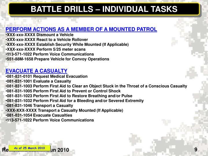 BATTLE DRILLS – INDIVIDUAL TASKS
