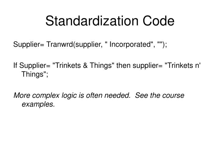 Standardization Code