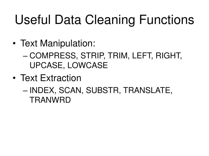 Useful Data Cleaning Functions