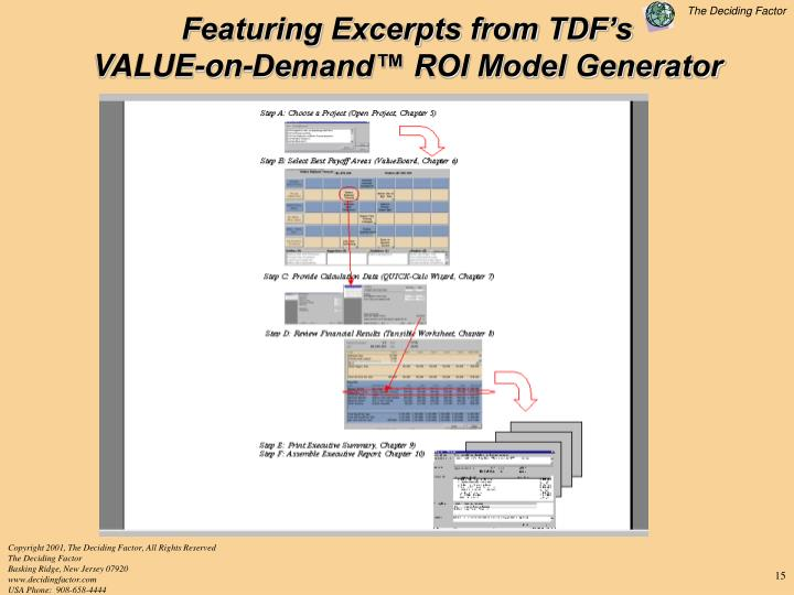 Featuring Excerpts from TDF's                      VALUE-on-Demand™ ROI Model Generator