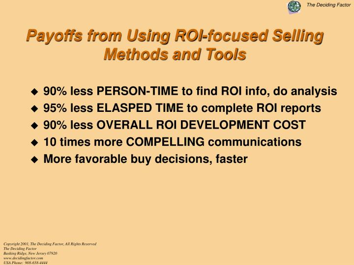 Payoffs from Using ROI-focused Selling Methods and Tools
