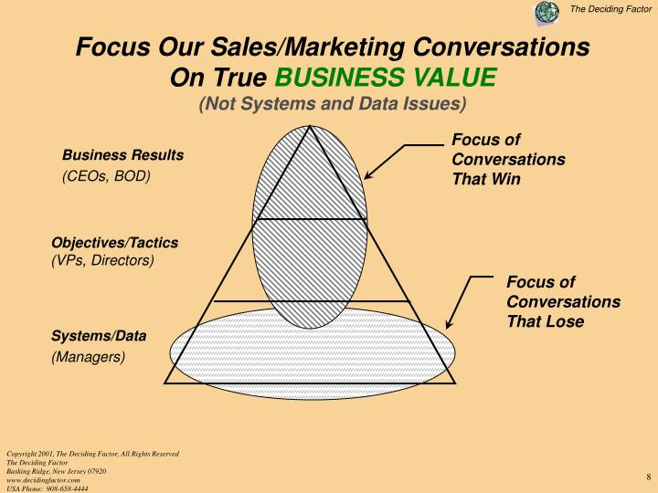 Focus Our Sales/Marketing Conversations                                          On True