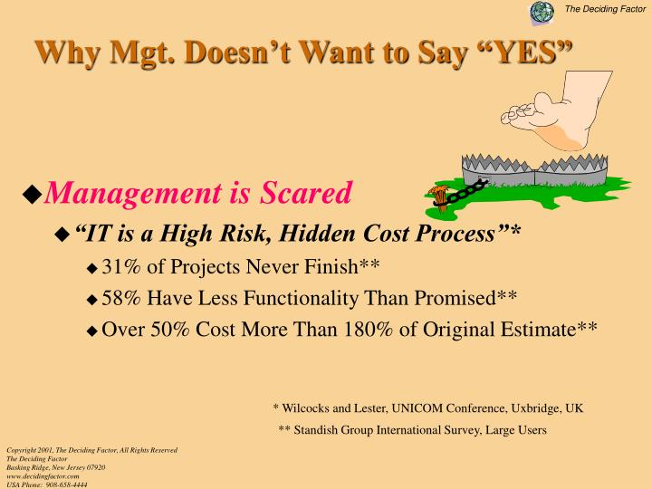 "Why Mgt. Doesn't Want to Say ""YES"""