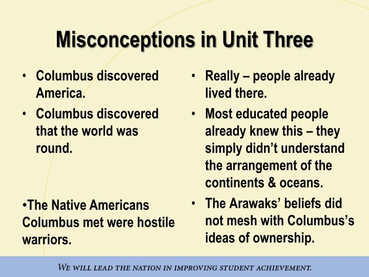 Misconceptions in Unit Three