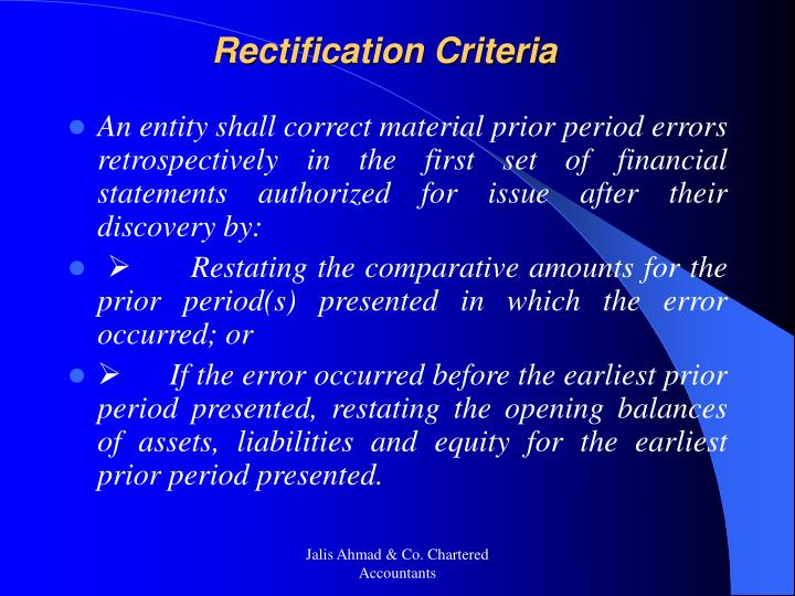 Rectification Criteria