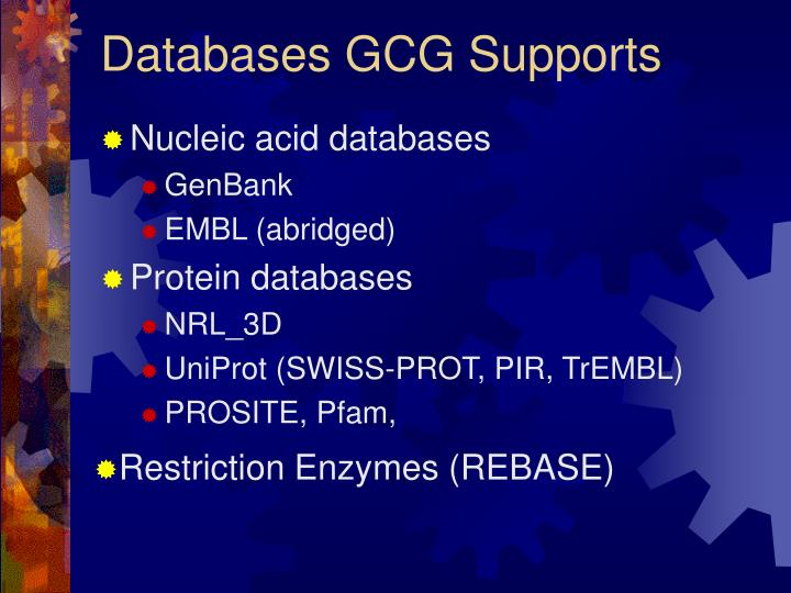 Databases GCG Supports