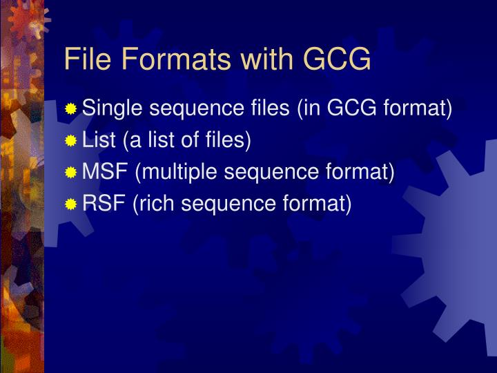 File Formats with GCG
