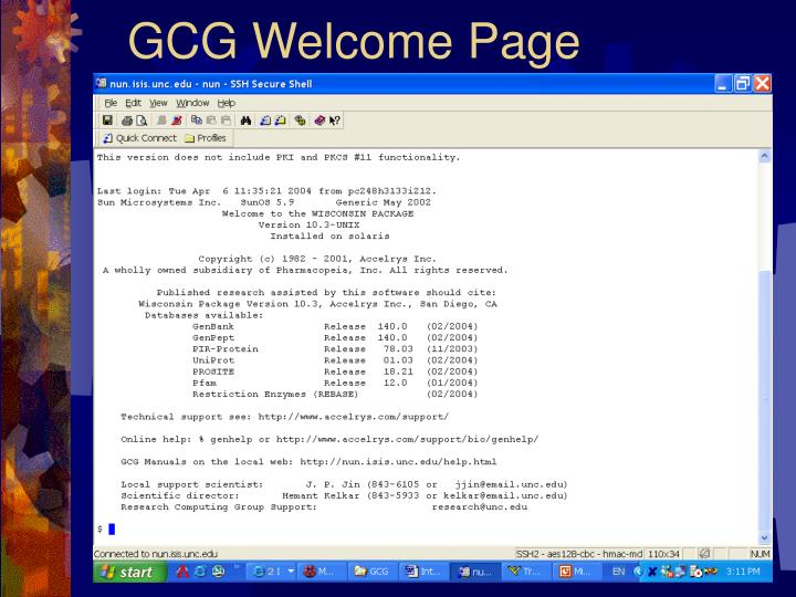 GCG Welcome Page
