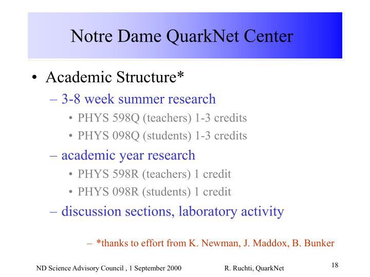 Notre Dame QuarkNet Center