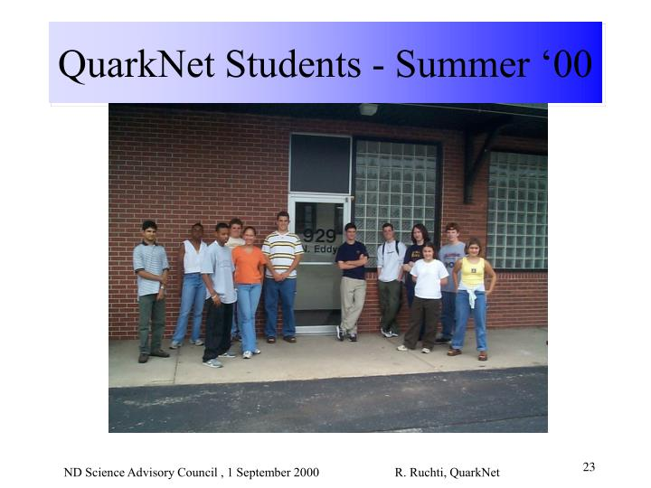 QuarkNet Students - Summer '00