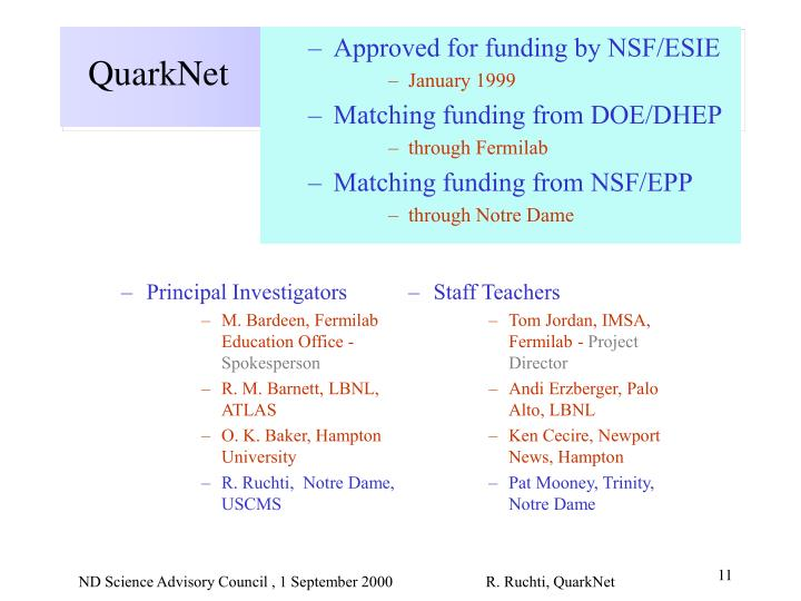 Approved for funding by NSF/ESIE