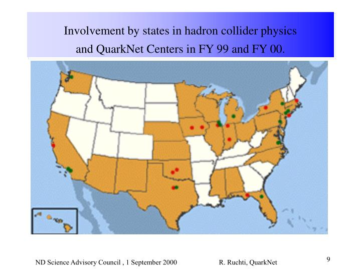 Involvement by states in hadron collider physics and QuarkNet Centers in FY 99 and FY 00.